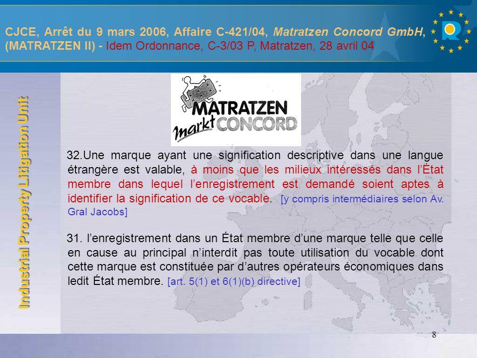 CJCE, Arrêt du 9 mars 2006, Affaire C-421/04, Matratzen Concord GmbH, (MATRATZEN II) - Idem Ordonnance, C-3/03 P, Matratzen, 28 avril 04
