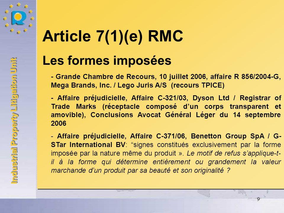Article 7(1)(e) RMC Les formes imposées