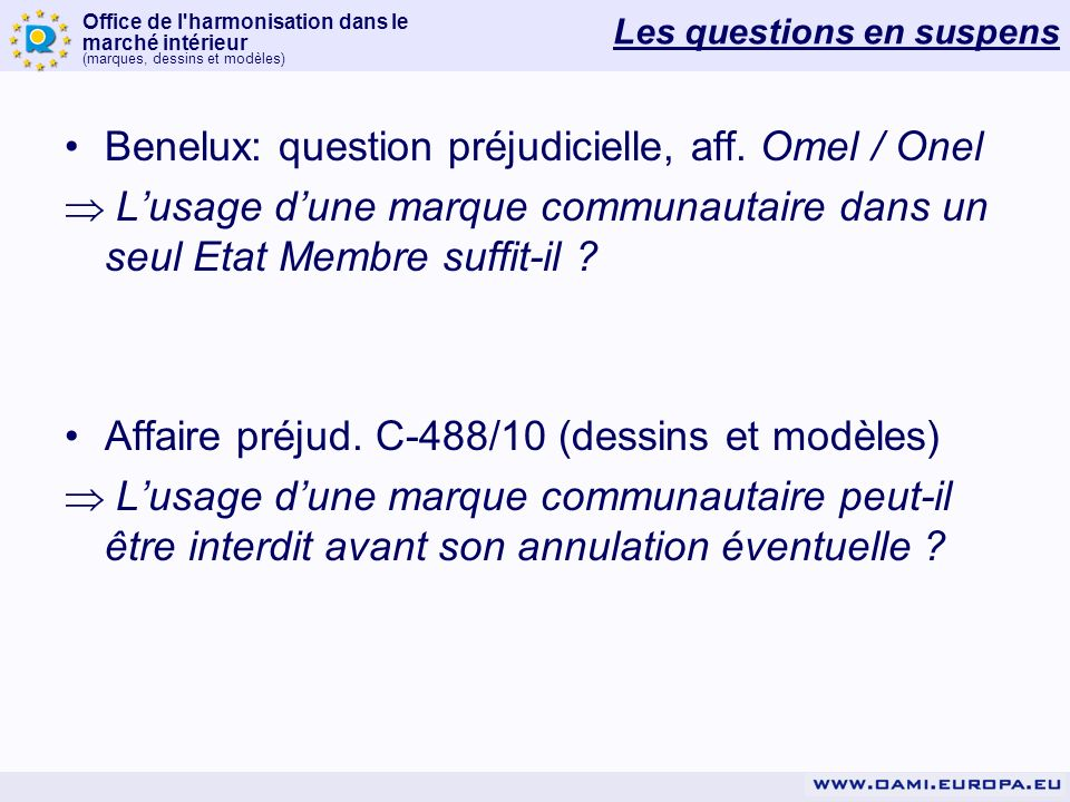 Les questions en suspens