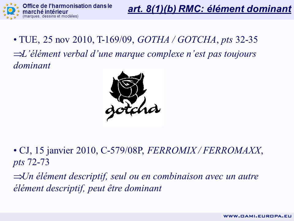 art. 8(1)(b) RMC: élément dominant