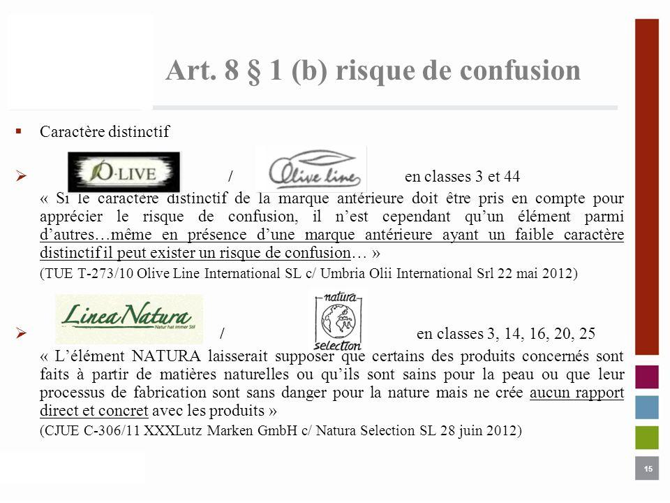 Art. 8 § 1 (b) risque de confusion