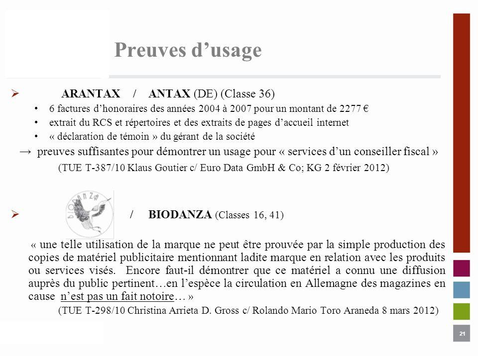 Preuves d'usage ARANTAX / ANTAX (DE) (Classe 36)
