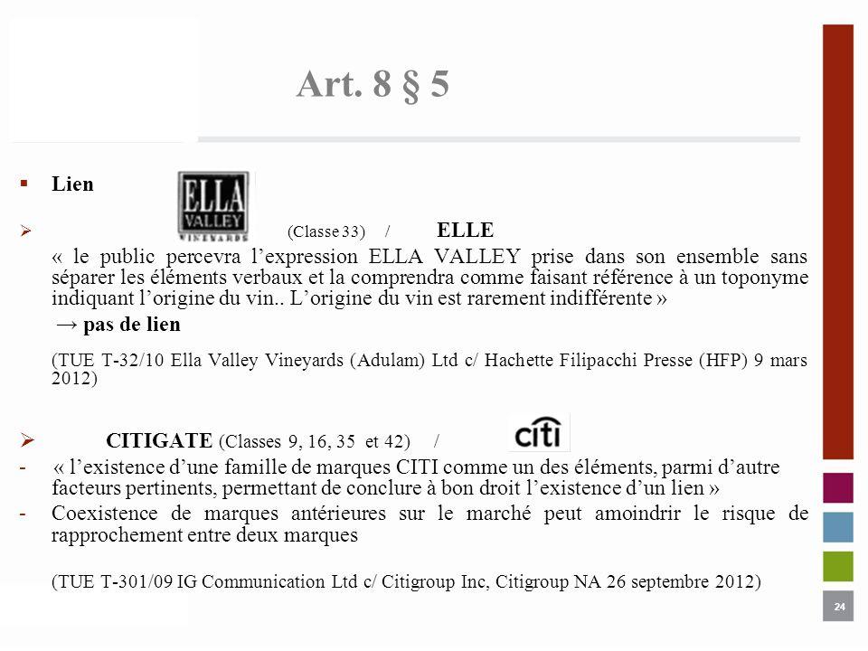 Art. 8 § 5 Lien. (Classe 33) / ELLE.