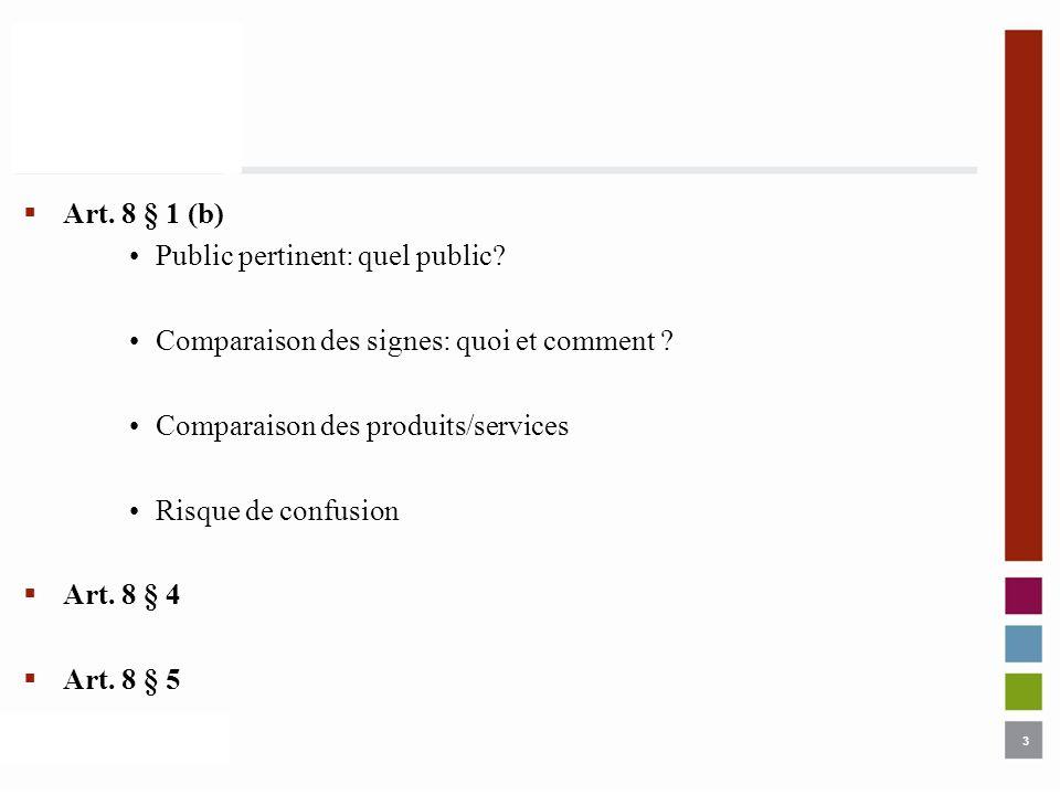 Art. 8 § 1 (b) Public pertinent: quel public Comparaison des signes: quoi et comment Comparaison des produits/services.