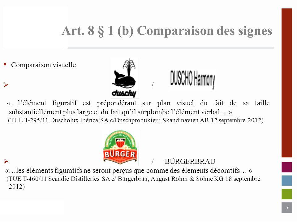Art. 8 § 1 (b) Comparaison des signes