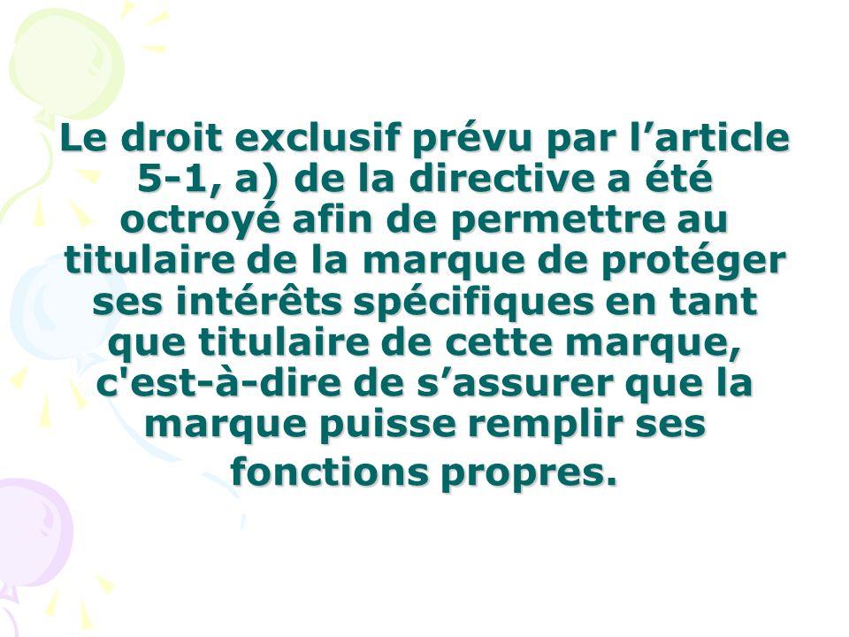 Le droit exclusif prévu par l'article 5-1, a) de la directive a été octroyé afin de permettre au titulaire de la marque de protéger ses intérêts spécifiques en tant que titulaire de cette marque, c est-à-dire de s'assurer que la marque puisse remplir ses fonctions propres.