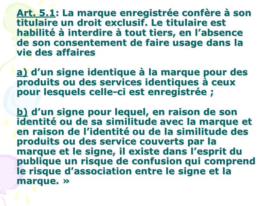 Art.5.1: La marque enregistrée confère à son titulaire un droit exclusif.