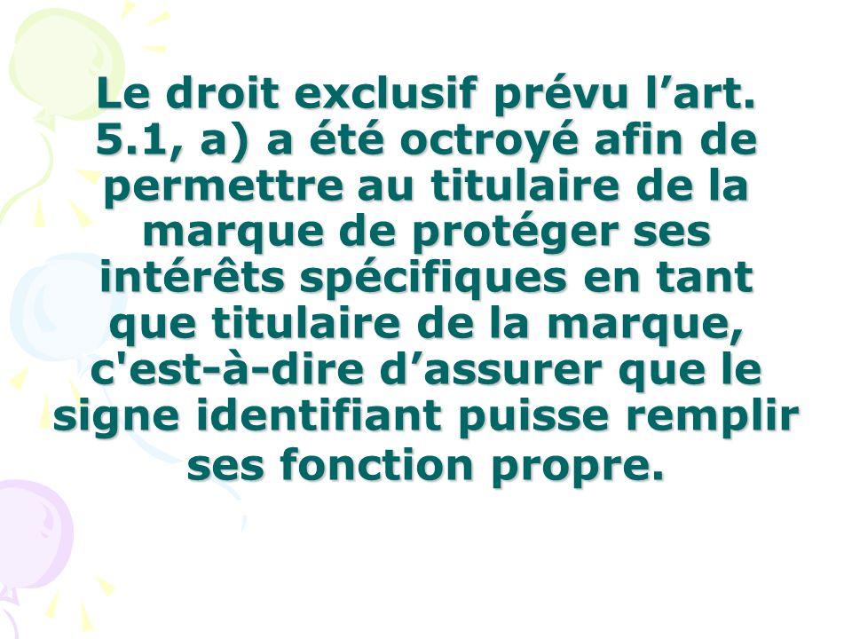 Le droit exclusif prévu l'art. 5