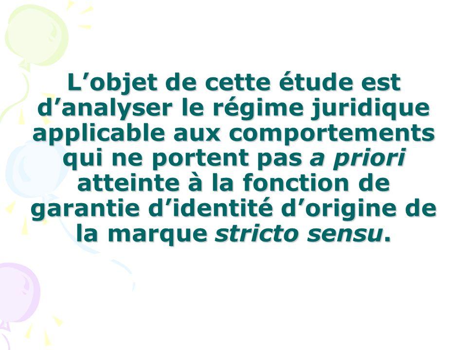 L'objet de cette étude est d'analyser le régime juridique applicable aux comportements qui ne portent pas a priori atteinte à la fonction de garantie d'identité d'origine de la marque stricto sensu.