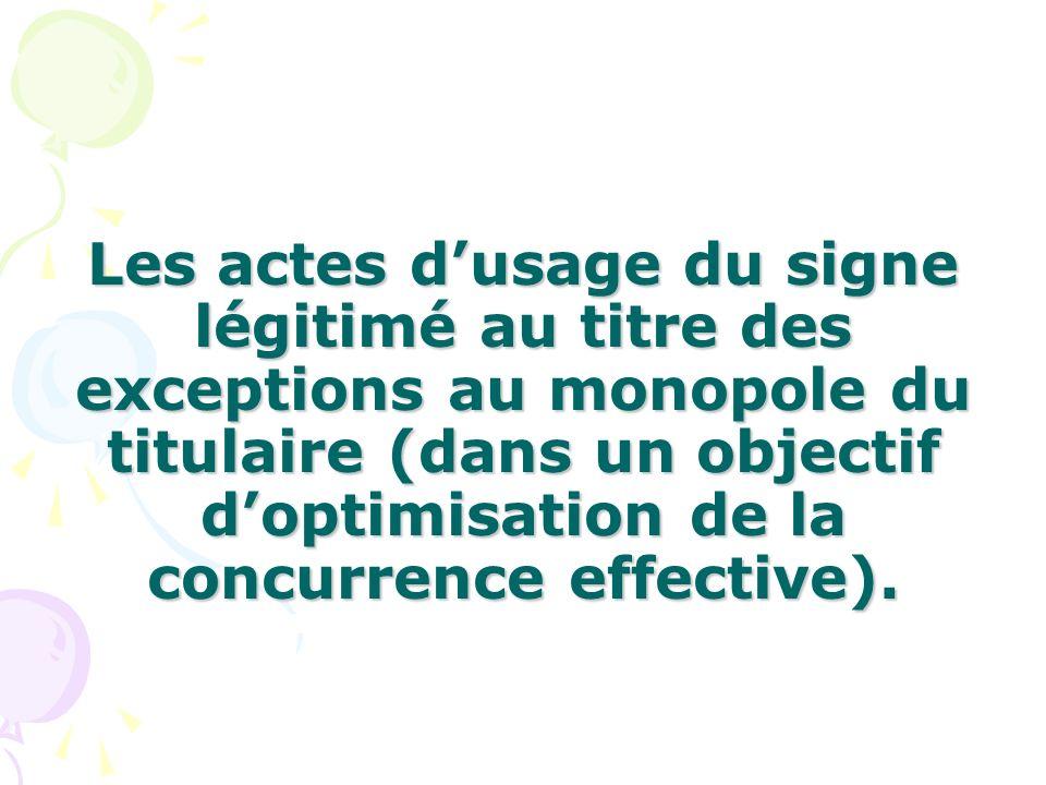 Les actes d'usage du signe légitimé au titre des exceptions au monopole du titulaire (dans un objectif d'optimisation de la concurrence effective).