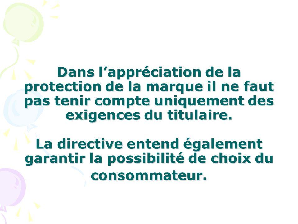 Dans l'appréciation de la protection de la marque il ne faut pas tenir compte uniquement des exigences du titulaire.