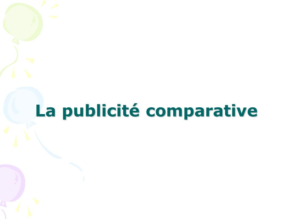 La publicité comparative