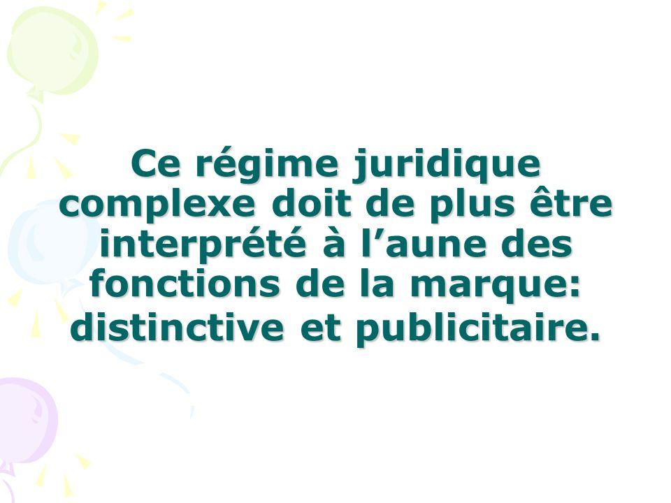 Ce régime juridique complexe doit de plus être interprété à l'aune des fonctions de la marque: distinctive et publicitaire.