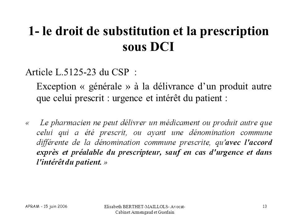 1- le droit de substitution et la prescription sous DCI