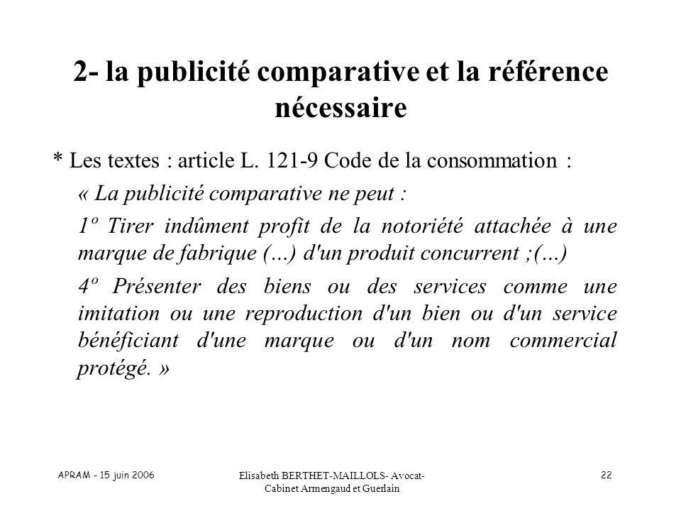 2- la publicité comparative et la référence nécessaire