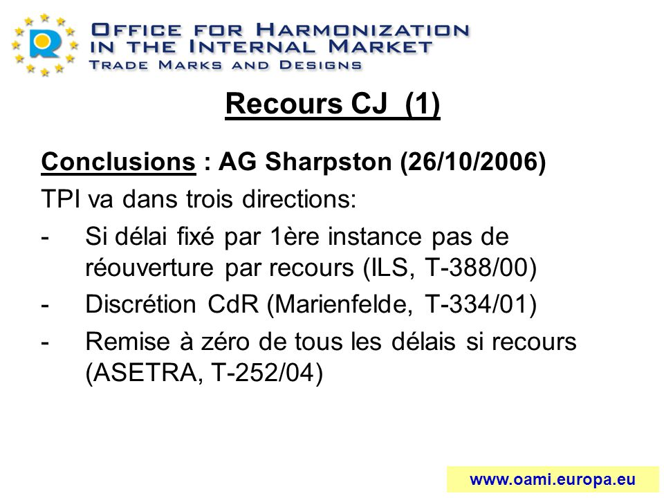 Recours CJ (1) Conclusions : AG Sharpston (26/10/2006)
