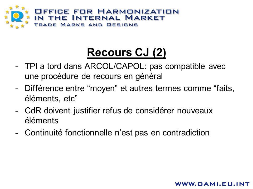 Recours CJ (2) TPI a tord dans ARCOL/CAPOL: pas compatible avec une procédure de recours en général.