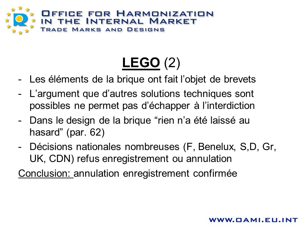 LEGO (2) Les éléments de la brique ont fait l'objet de brevets