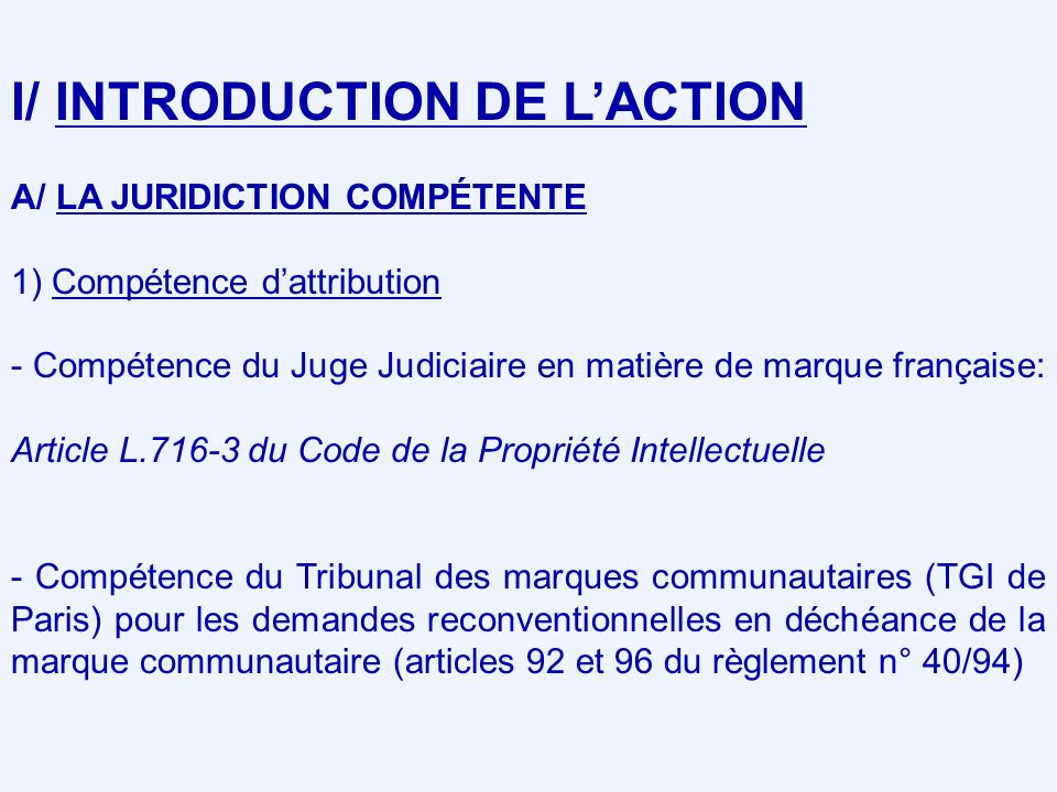 I/ INTRODUCTION DE L'ACTION
