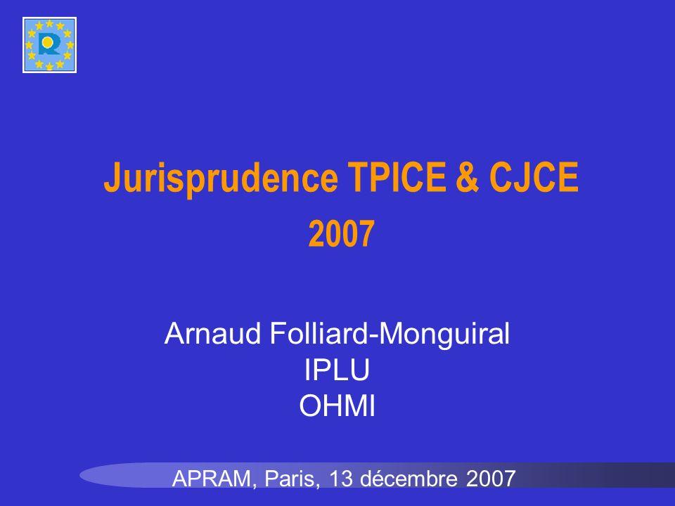 Jurisprudence TPICE & CJCE