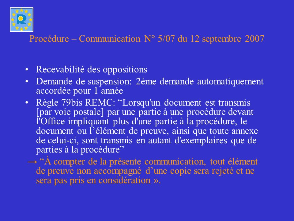 Procédure – Communication N° 5/07 du 12 septembre 2007