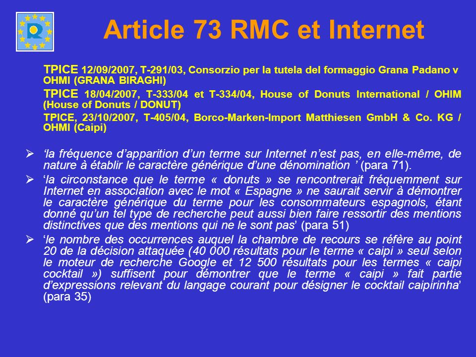 Article 73 RMC et Internet