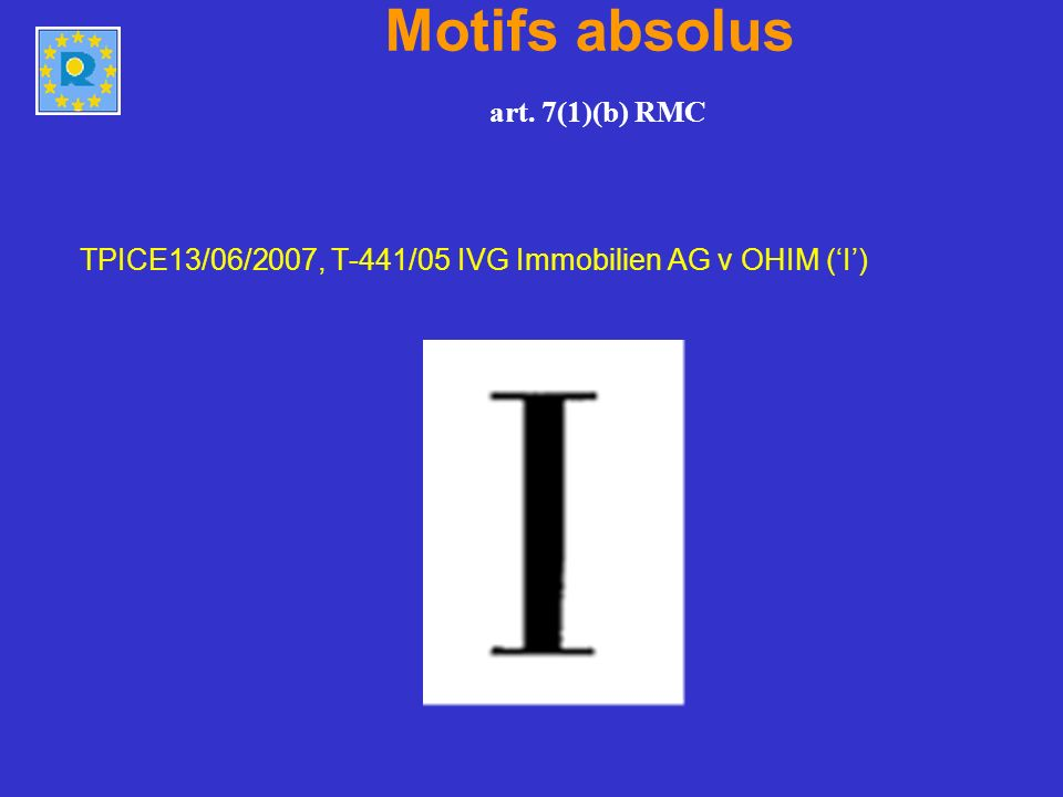 Motifs absolus art. 7(1)(b) RMC