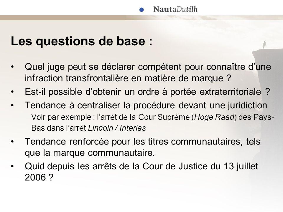 Les questions de base : Quel juge peut se déclarer compétent pour connaître d'une infraction transfrontalière en matière de marque