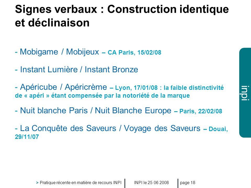 Signes verbaux : Construction identique et déclinaison