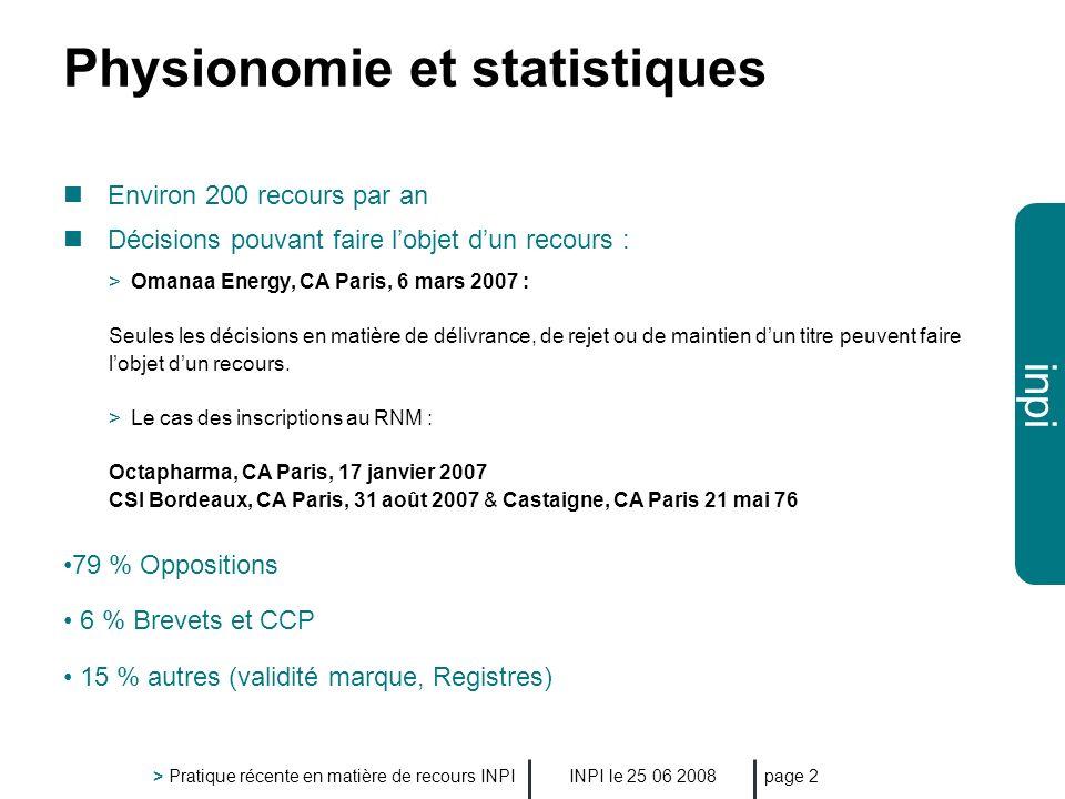 Physionomie et statistiques