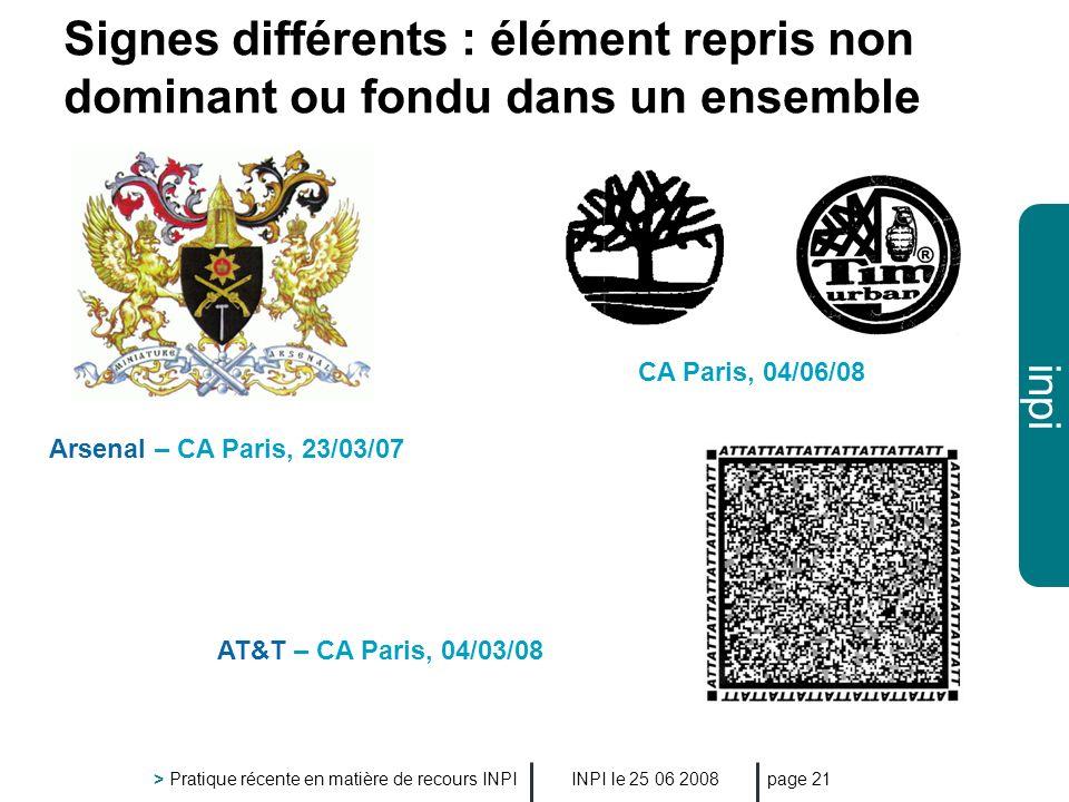Signes différents : élément repris non dominant ou fondu dans un ensemble