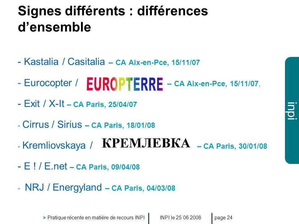 Signes différents : différences d'ensemble