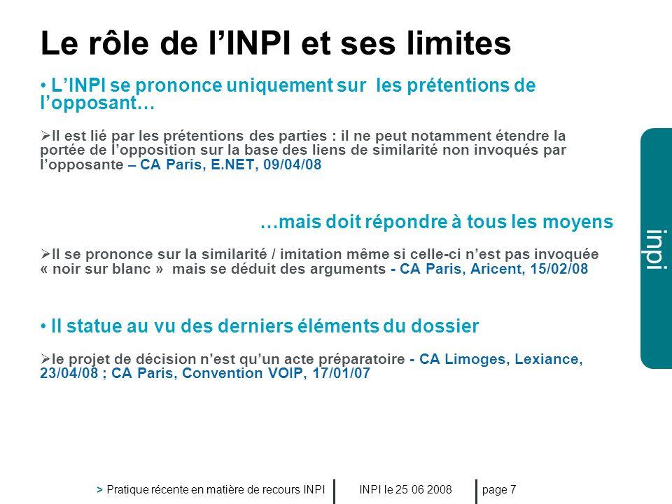 Le rôle de l'INPI et ses limites