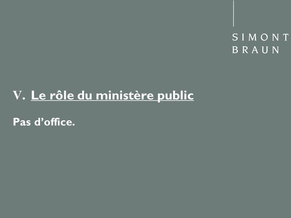 V. Le rôle du ministère public Pas d'office.