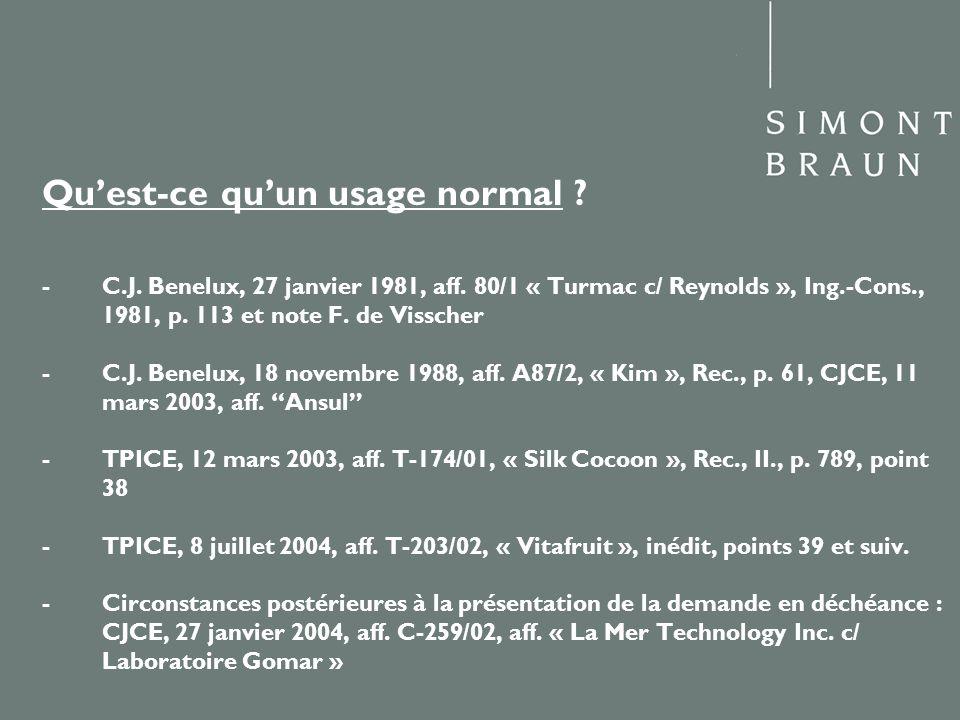 Qu'est-ce qu'un usage normal. -. C. J. Benelux, 27 janvier 1981, aff