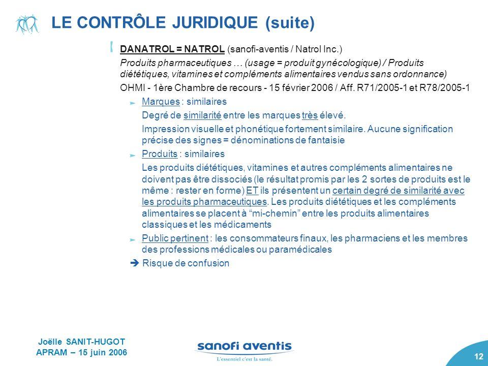 LE CONTRÔLE JURIDIQUE (suite)