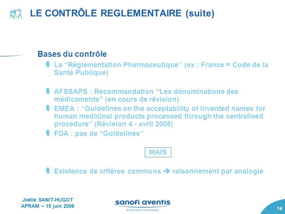 LE CONTRÔLE REGLEMENTAIRE (suite)