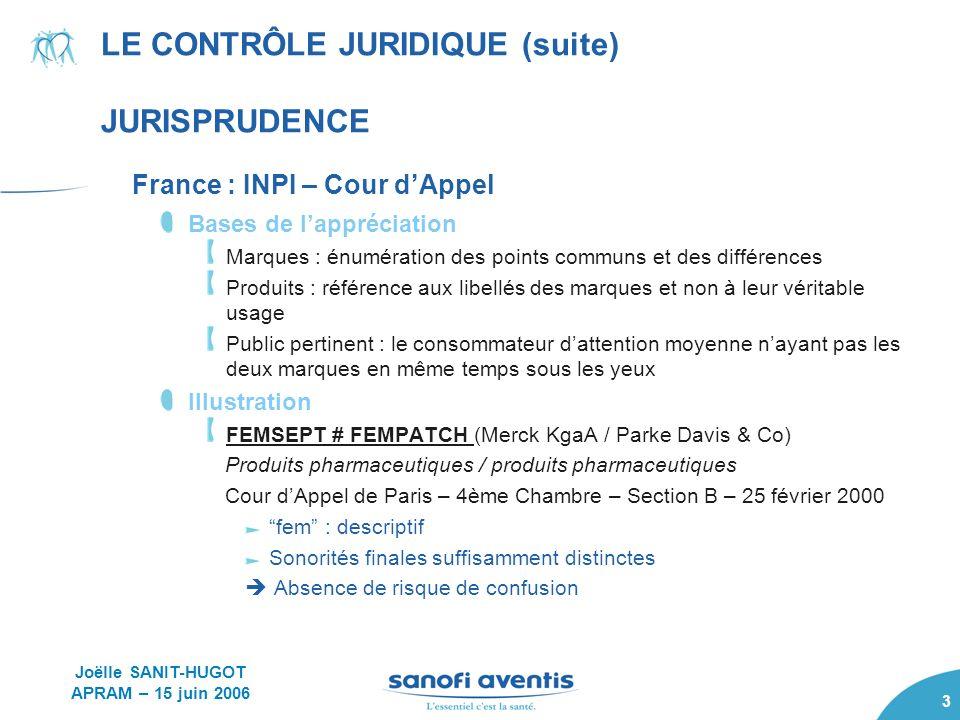 LE CONTRÔLE JURIDIQUE (suite) JURISPRUDENCE
