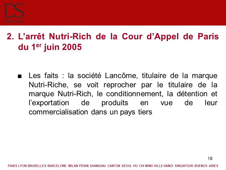 L'arrêt Nutri-Rich de la Cour d'Appel de Paris du 1er juin 2005