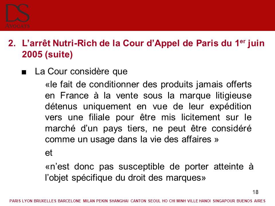 L'arrêt Nutri-Rich de la Cour d'Appel de Paris du 1er juin 2005 (suite)