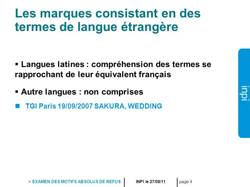 Les marques consistant en des termes de langue étrangère