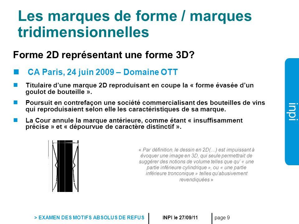 Les marques de forme / marques tridimensionnelles