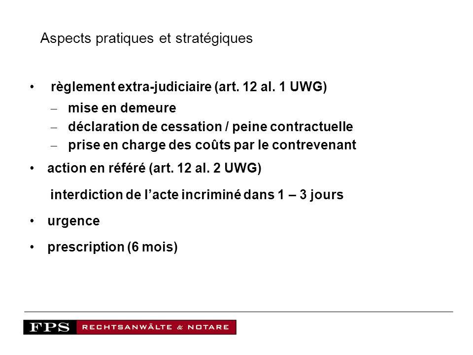 Aspects pratiques et stratégiques