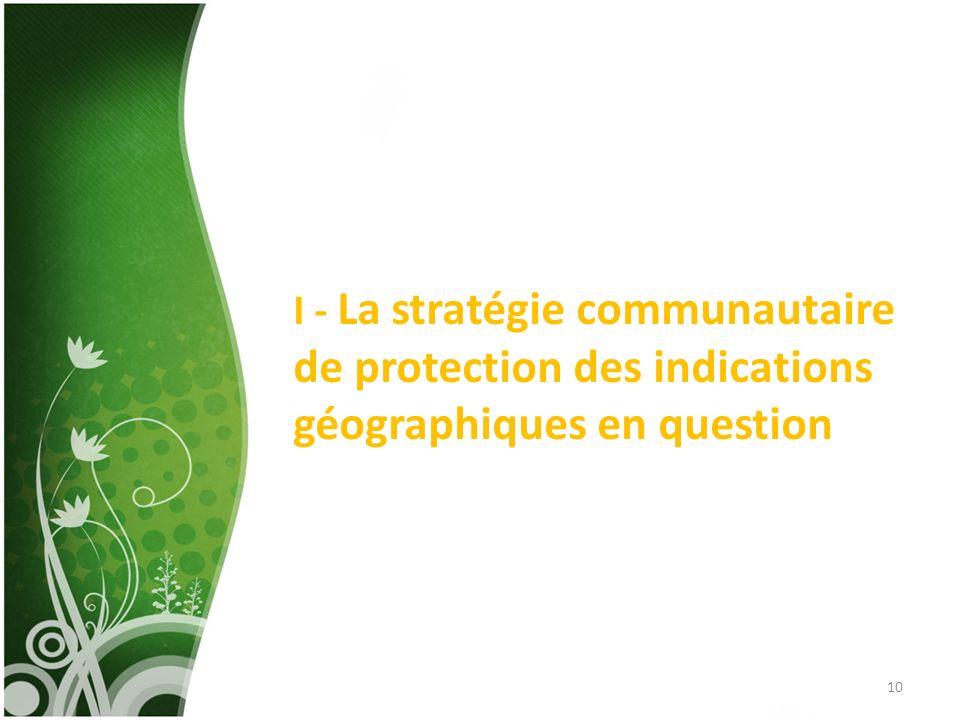 I - La stratégie communautaire de protection des indications géographiques en question