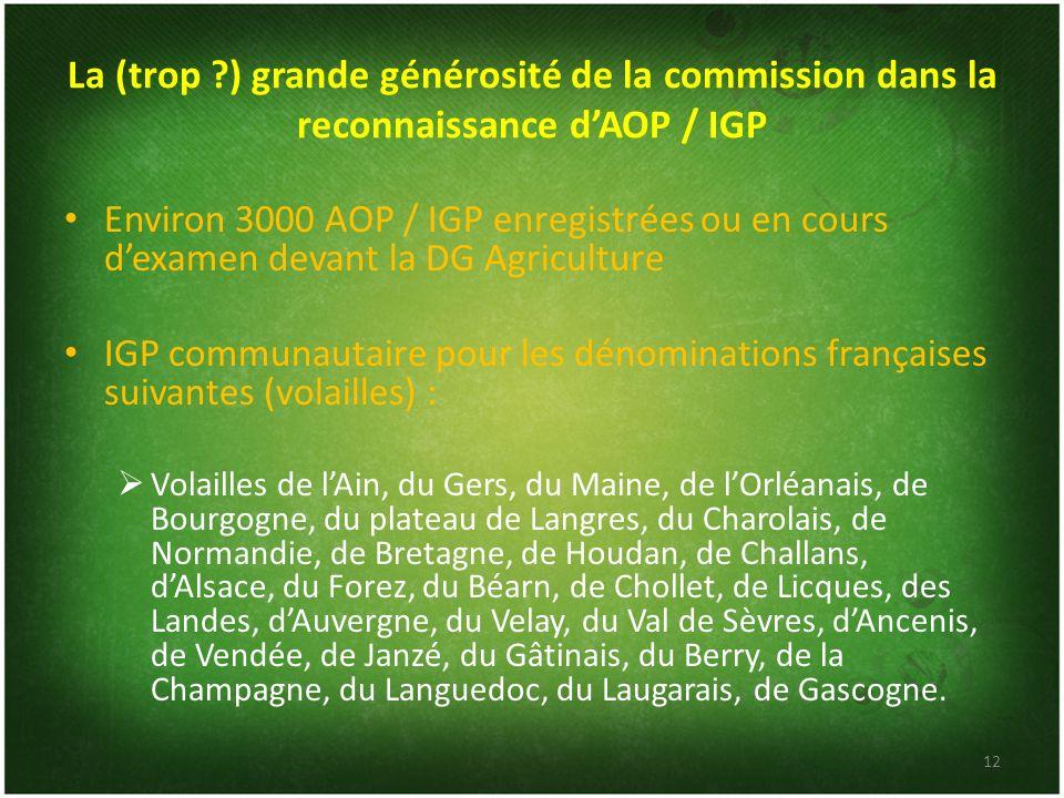 La (trop ) grande générosité de la commission dans la reconnaissance d'AOP / IGP