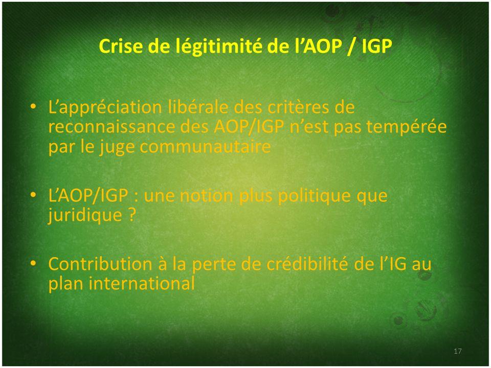 Crise de légitimité de l'AOP / IGP