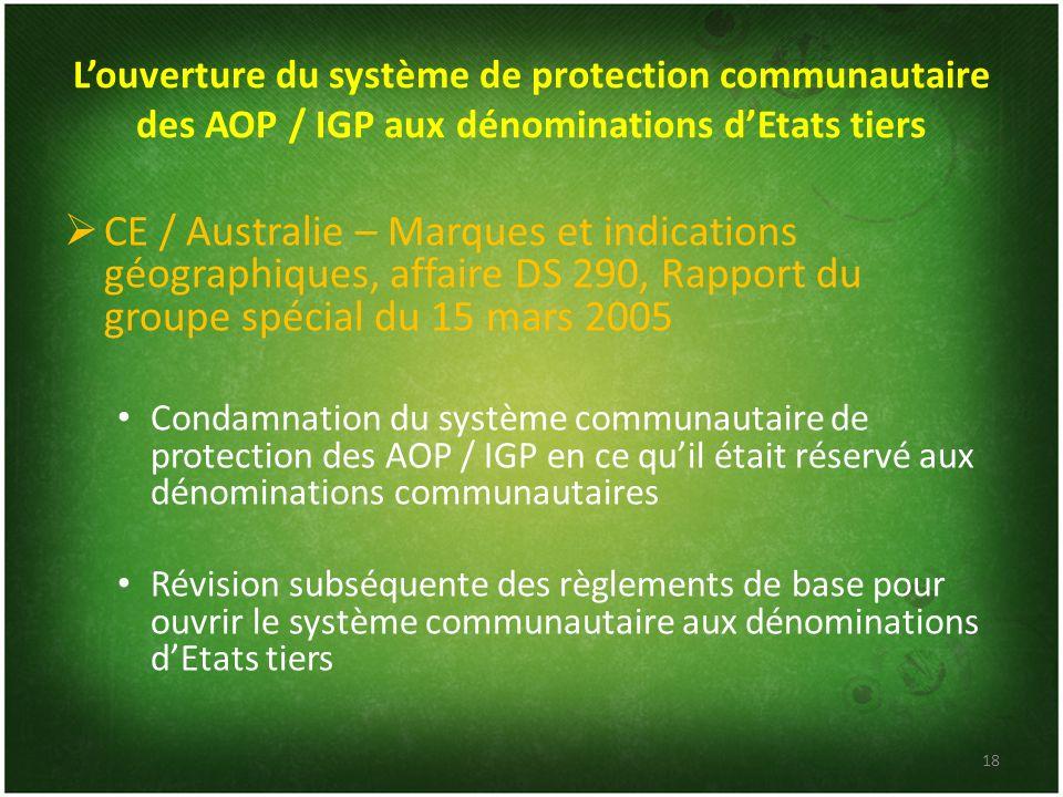 L'ouverture du système de protection communautaire des AOP / IGP aux dénominations d'Etats tiers