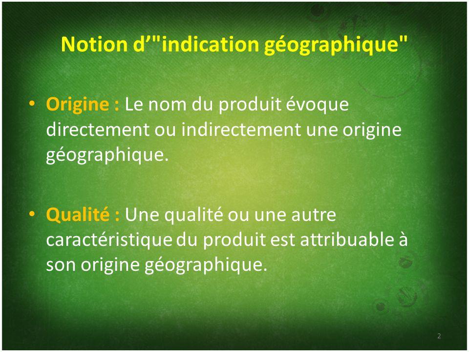 Notion d' indication géographique
