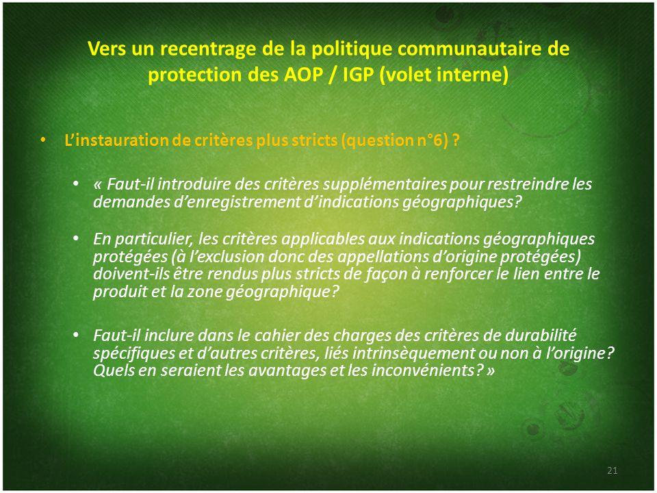 Vers un recentrage de la politique communautaire de protection des AOP / IGP (volet interne)
