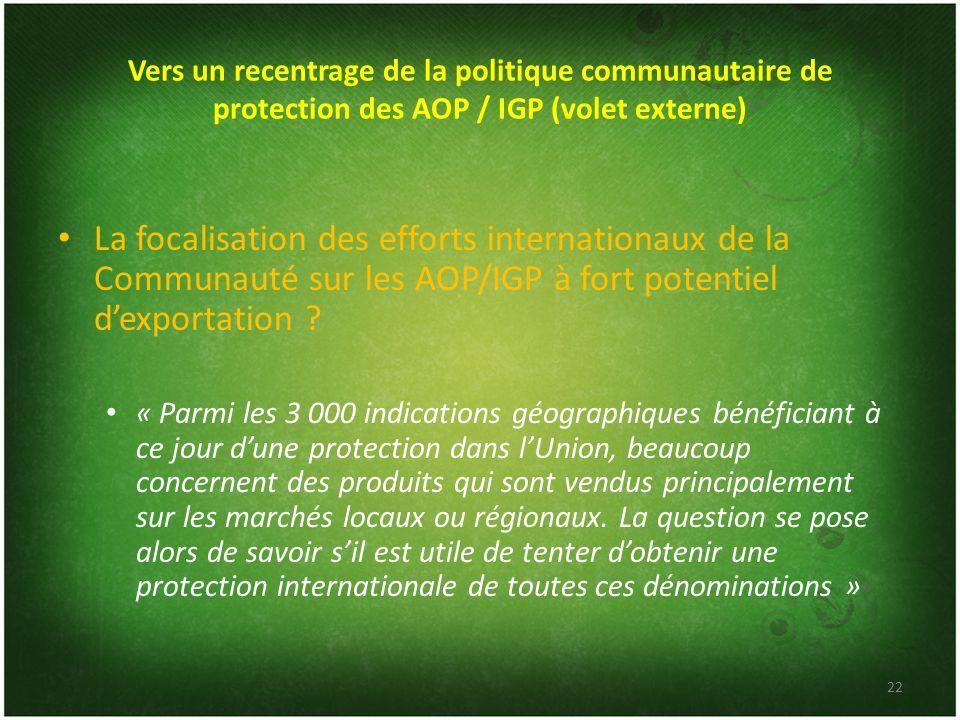 Vers un recentrage de la politique communautaire de protection des AOP / IGP (volet externe)